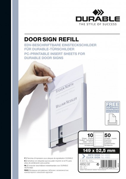 DOOR SIGN REFILL 210 x 297 mm